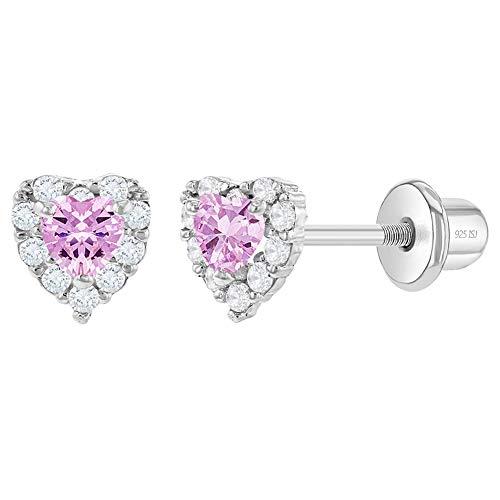 In Season Jewelry - Baby Mädchen Säugling - Schraubverschluss Ohrringe Herzform 925 Sterling Silber Rosa Klar CZ Zirkonia