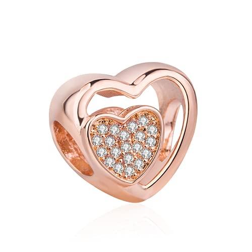 ZHANGCHEN Zawieszka ze srebra próby 925, zestaw ażurowej pieczęci z różowego złota, Love Heart z kryształowymi koralikami