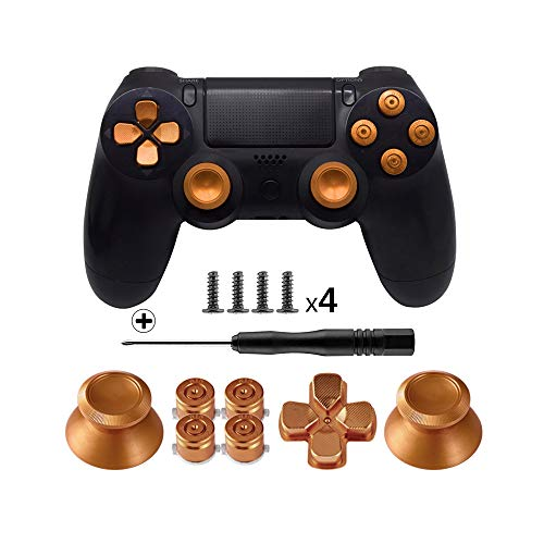 TOMSIN Metal Buttons for DualShock 4, Aluminum Metal Thumbsticks Analog Grip & Bullet Buttons & D-pad for PS4 Controller (Gold)