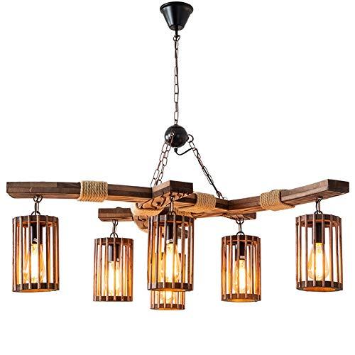 Vintage/antiek/rustieke hanglamp industriële kluis met 6 vlammen houten kooi creatieve bar restaurant boot houten lampen loft plafondlampen