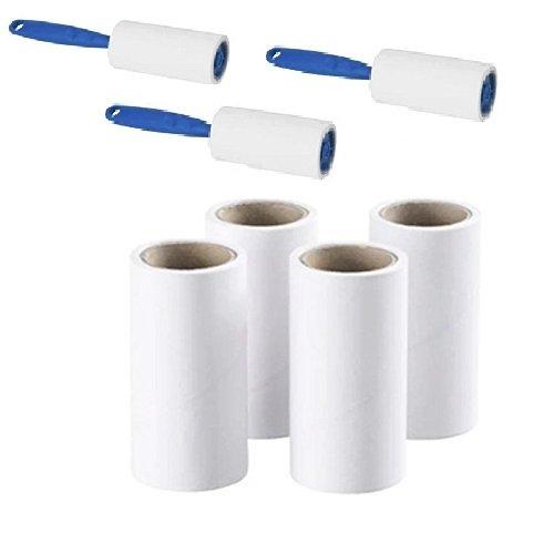 3x IKEA Fusselroller + 4klebende Ersatz-Zahnbürstenköpfe einfach und entfernt schnell Tierhaare, Staub und Flusen von Kleidungsstücken, Möbeln und Autositzen