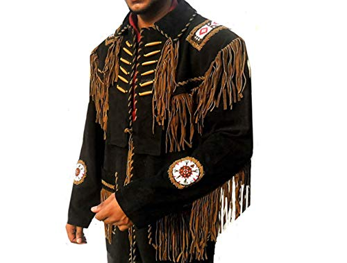 Seasonal Men's Western Suede Leather Jacket with Fringe and Beaded Native American Jacket Black