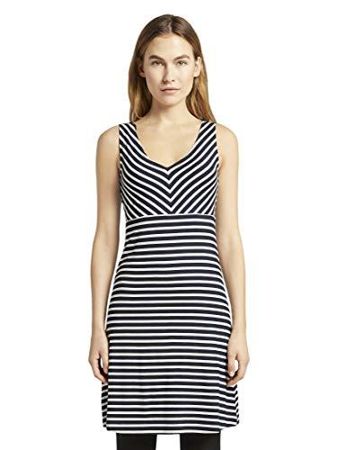 TOM TAILOR Damen Kleider & Jumpsuits Gemustertes Kleid mit V-Ausschnitt Navy Stripe,34
