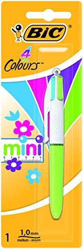 BIC 4 colores Mini Bolígrafo Retráctil punta media (1,0 mm) – colores Modernos Surtidos, Blíster de 1 Unidad