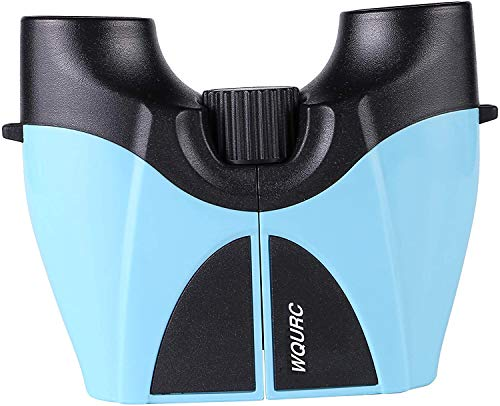 WQURC 10X22 Powerful Compact Binoculars for Adults Kids with Low Light Night Vision Binocular for Boating/Yachting Sports Bird Watching Auto Racing Horse Racing Hunting Travelling (Light Blue)
