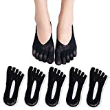 AMIGOGO 5 Pairs Women's Toe Socks, Compression Stockings, Slipper Five Finger Socks, Toe Ultra Low Cut Liner Breathable Gel Tab, Relieves Foot Pain,