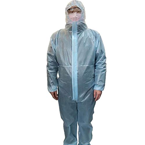 BINTI Einweg-, wasserdichteölbeständigesiamesische Isolierkleidung, Schutzausrüstung, Epidemieprävention, Isolationskleidung, EinteiligeSchutzkleidungmitKapuze, 5Stück, XL