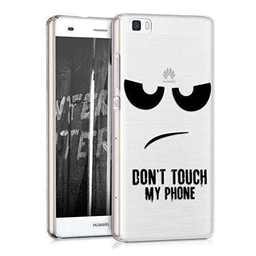 kwmobile Custodia Compatibile con Huawei P8 Lite (2015) - Cover Silicone TPU - Protezione Back Case - Don't Touch My Phone Nero/Trasparente