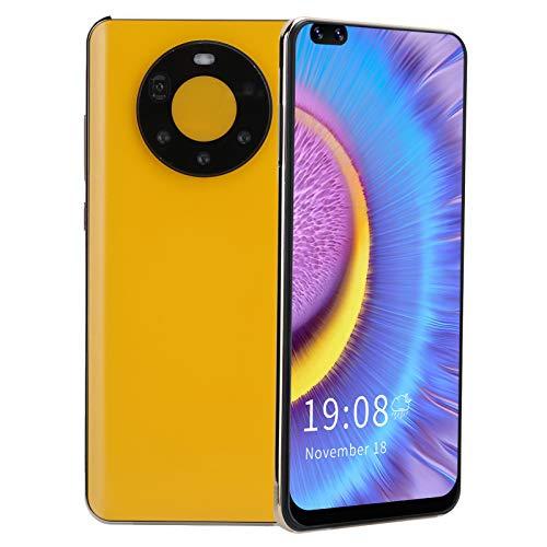 Dpofirs Mate50 Pro + Smartphone Desbloqueado de Pantalla Curva de 6.82 '', 2 + 16GB de Almacenamiento, 128GB extendido, teléfono Celular con Tarjeta SIM Dual(Amarillo)