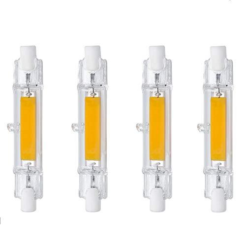 YFWJD 4PCS R7S Bombillas LED, 8.5W / 78mm AC 230V 3000K / 6500K Lámpara halógena, COB LED de Doble Extremo R7S 118 Luz Lineal Ángulo de Haz de 360 ° No Regulable,(3000k) Warm White