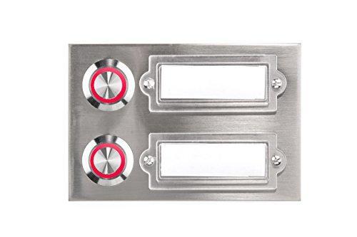 HUBER LED Klingeltaster 12223, 2-fach aufputz/unterputz, rechteckig, Echtmetall, LED Lichtfarbe rot