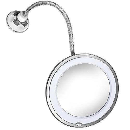 JiBen Flexible Gooseneck LED Lighted 10X Magnifying Makeup Mirror with Power Locking Suction Cup, Bright Diffused Light and 360 Degree Swivel, Portable Cordless Travel and Home Bathroom Vanity Mirror