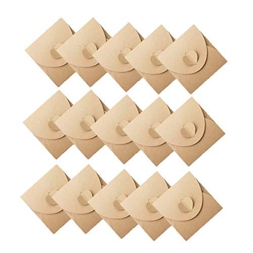 50 Stück Kraftpapier Briefumschläge,Kreative retro niedlichen herzförmigen Umschlag, für Hochzeit, Geburtstagsfeier Geschenk liefert (13cmx13cm)
