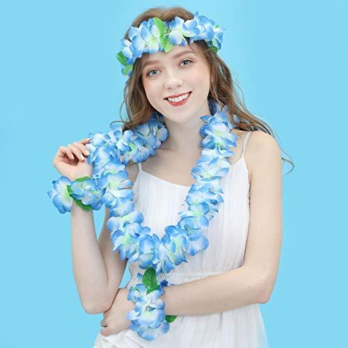 JSSHI Lush Hawaiian Headpiece,Hawaiian Flower Leis Jumbo Necklace Bracelets Headband Set with Leaf for Hawaiian Luau Party Decoration Supplies (with Green Leaves,Blue)