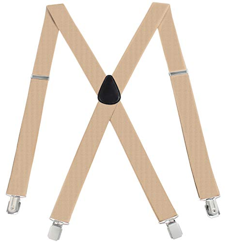RSG Suspender Mens Suspenders Adjustable X-Back Heavy Duty Clip Suspenders - Elastic, Big & Tall, Tan, X-Large