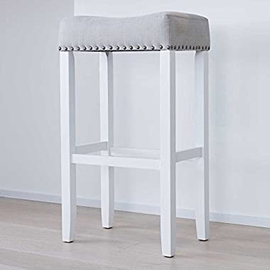 Nathan James 21401 Hylie Nailhead Wood Pub-Height Kitchen Bar Stool, 29 , White