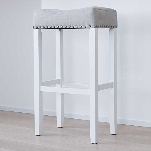 Wood Kitchen Pub-Height Barstool - Backless Upholstered Nailhead Trim Saddle Seat, 29 Inch - Gray Tuft Cushion and White Finish - for Bar or Counter