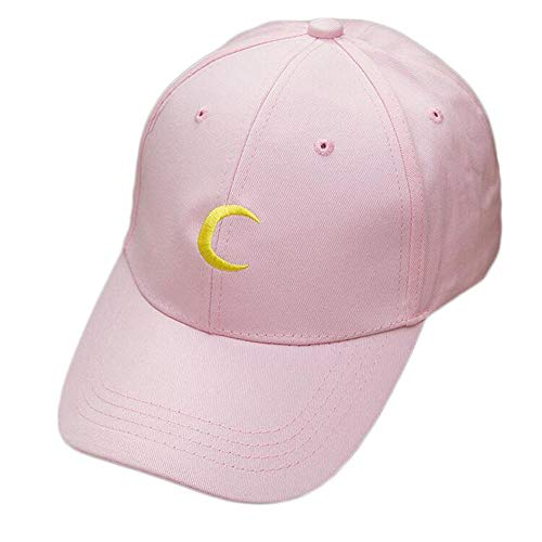 ZFSWMY Baseballmütze New Sailor Moon Crescent Dad Hut Bestickt Harajuku Soft Sister MoonHysteresenkappen Sun Lovers Hat-Pink