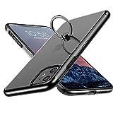 E Segoi iPhone 11 ケース リング付き スタンド機能 メッキ加工 透明 PC 落下防止 耐衝撃 おしゃれ 高級感 薄型 軽量 一体型 全面保護カバー アイフォン11ケース iPhone11 リング ケース [6.1インチ] (iPhone 11, ブラック/黒)