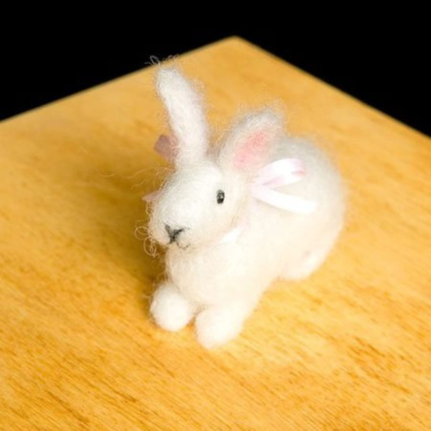 Bunny Wool Needle Felting Craft Kit by WoolPets. Made in the USA. by WoolPets