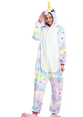 VineCrown Unicornio Pijama Animal Disfraces Traje Adultos Ropa de dormir Novedad Pijamas de una pieza Cosplay Carnaval Halloween Navidad (M for 160CM-168CM, Estrellas)