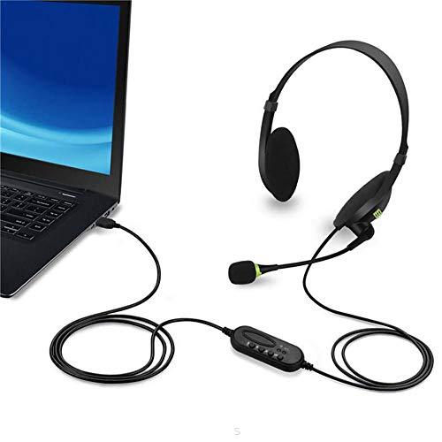 aheadad - Auriculares con cable USB y PC con micrófono flexible universal para Softphone profesional, centro de llamadas y ordenador de sobremesa, voz más clara, súper ligeros, ultra cómodos