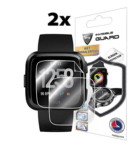 IPG for Fitbit Versa Smartwatch (2X) Screen Protector 3D Curved (2 Units) Invisible Ultra HD Clear Film Anti Scratch Skin Guard - Smooth/Self-Healing/Bubble -Free