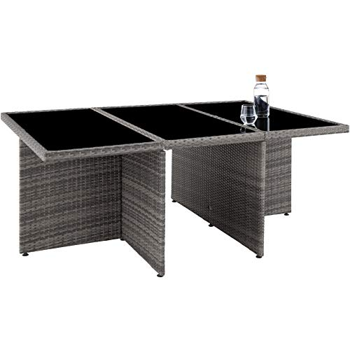 TecTake 403086 Aluminium Poly Rattan Sitzgruppe 6+1+4, klappbar, für bis zu 10 Personen, inkl. Schutzhülle und Edelstahlschrauben, grau - 4