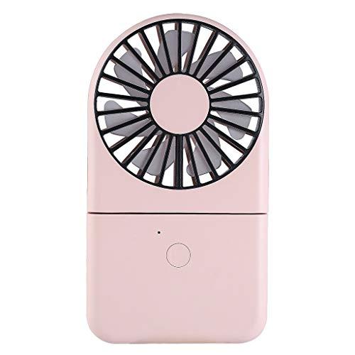 ROVNKD USB Mini Fan Ventilator Beweglicher Persönlicher Schreibtisch-Aufladbare Faltbare Neck Fan mit Lanyard(Rosa,)