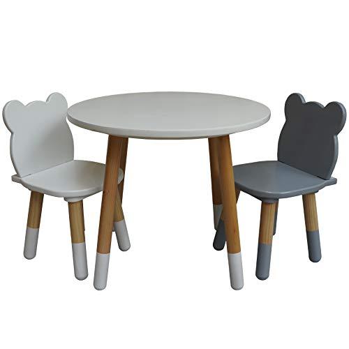Stepup Baby Mesa y sillas para niños, juego de 2 sillas de madera, 2 – 5 años (redonda)