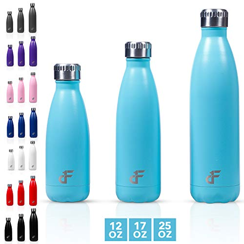 Day 1 Fitness 12 oz. Double Wall 18/8 SS Narrow Screw Cap Water Bottle Teal