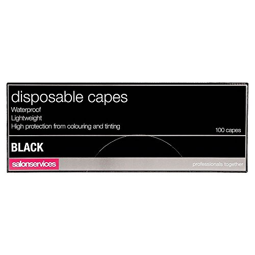 Salon Services Disposable Hairdressing Capes Black 100 Pack