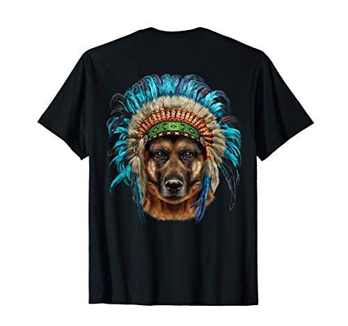 Perro pastor alemán con tocado de jefe indio americano Camiseta
