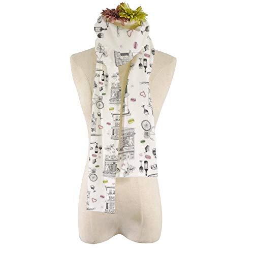 EVEYYWJ HD 3D-Druck drucken warmen Schal Schal Set-Hand-gezeichnet-Französisch-Symbole weichen Schals Mode Kopftuch-HZWJ-2,21 * 184cm