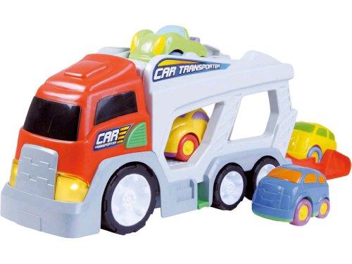 Partner Jouet - HKT12147 - Jeu éducatif Premier âge - Pousse et Traîne - Transport 4 Autos Sonic