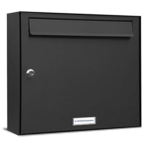 AL Briefkastensysteme 1er Briefkastenanlage Anthrazit Grau RAL 7016, Premium Briefkasten DIN A4, 1 Fach Postkasten modern Aufputz