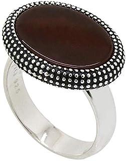 خاتم فضة استرليني ملاكي مع حجر احمر داكن للرجال من عتيق
