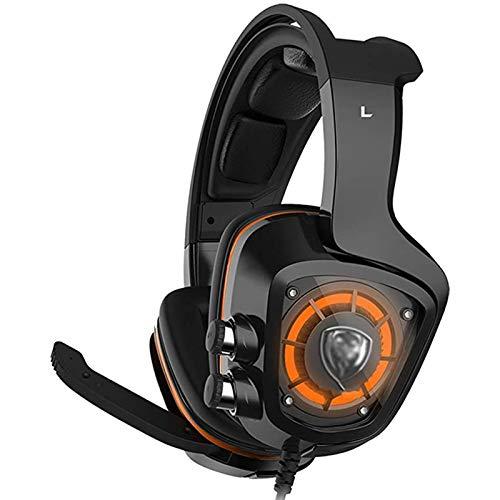 ASYHWZ Auriculares de Juegos, Auriculares de Goma de Gama Alta con micrófono para PS4, TV, PC, Sonido Envolvente y Auriculares de micrófono HD