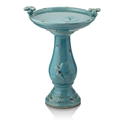 Alpine Corporation Antique Pedestal Birdbath with 2 Bird Figurines - Ceramic Vintage Decor for Garden, Patio, Deck, Porch - Turquoise Blue