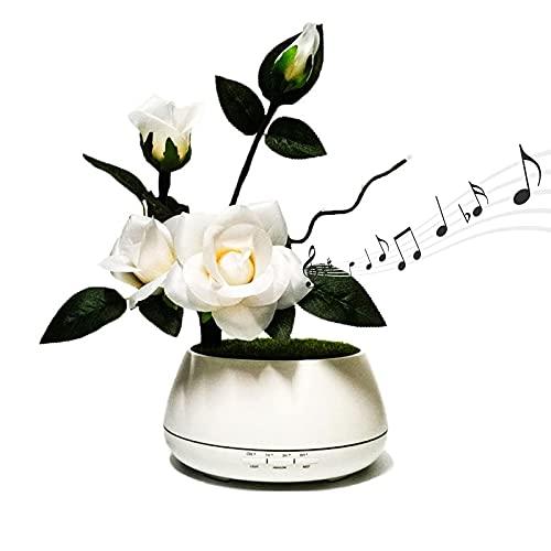 Multifuncional aromaterapia lámpara dormitorio oficina humidificador reproductor de música altavoz creativo linterna noche luz regalo base blanca melocotón flor