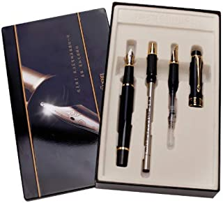 HERO 7032 Black Calligraphy Art Lettering Pen 3-Piece (2 Fountain Pens, Rollerball) Gift Box Set with Refillable Converter