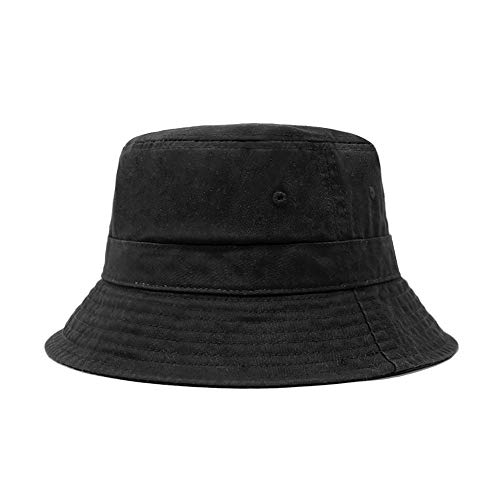 CHOK.LIDS Cotton Bucket Hats Unisex Wide Brim Outdoor Summer Cap Hiking Beach Sports (Black)