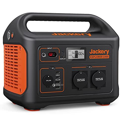 Jackery Tragbare Powerstation Explorer 1000 - 1002 Wh AKKU Solar Generator & Mobiler Stromspeicher mit 230V Steckdose + USB für Outdoor, Camping, Garten, Party, Heimwerken und als Notstromaggregat