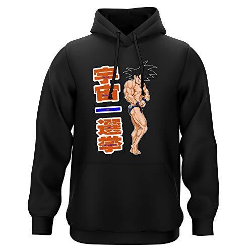 Okiwoki Sweat-Shirt à Capuche Noir Parodie Dragon Ball Z - DBZ - Sangoku - Mister Univers - Candidat N° 11: (Sweatshirt de qualité Premium de Taille XL - imprimé en France)