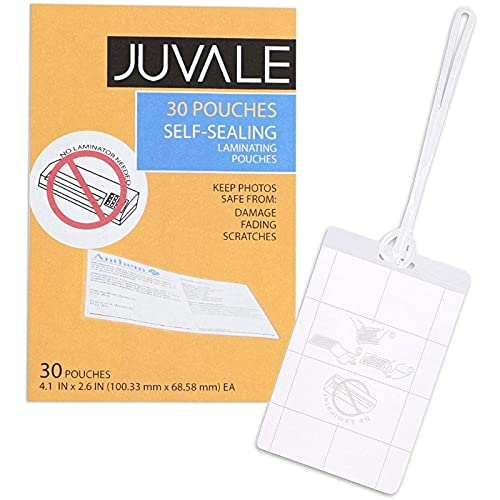 Juvale 30-Pack Self-Seal Laminating Pouches for Luggage & Bag Tags, 4 x 2.5 Inches