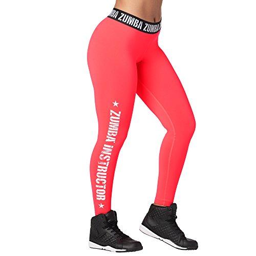 Zumba Fitness Damen Weit Jacquard Bund Kompression Sexy Sport Workout Wb Legging, Pink Happy, XX-Large