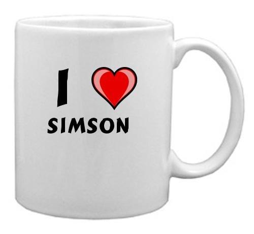 Keramische Tasse mit Aufschrift Ich liebe Simson (Vorname/Zuname/Spitzname)