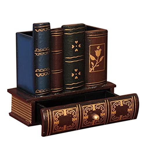 MKOJU New-multifunción Retro Soporte de Pluma de Madera con Forma de Libro Madera Artesanía Decoración Decoración Lápiz Escritorio Caja de Almacenamiento Cajones Papelería Holde