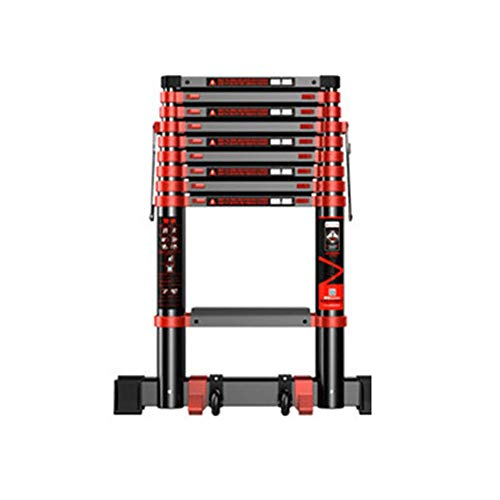 XC multifunctionele telescopische ladder, anti-slip ladder, technische ladder, verbreed 82 mm anti-slip aluminiumlegering, telescoop 2,3 m - 5,9 m (zwarte lader) 4.7m