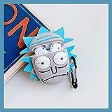 Funda de silicona para auriculares 3D con diseño de Rick y Morty para AirPods 1 2 con Bluetooth, caja de carga para auriculares con gancho (rick)